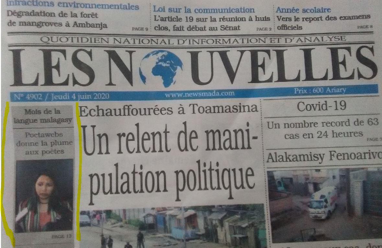 Gazety Les Nouvelles momba ny iray volan'ny teny malagasy niandraiketan'ny Pôetawebs